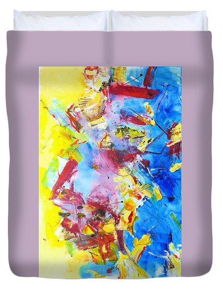 Dialogue In Yellow And Blue Duvet Cover