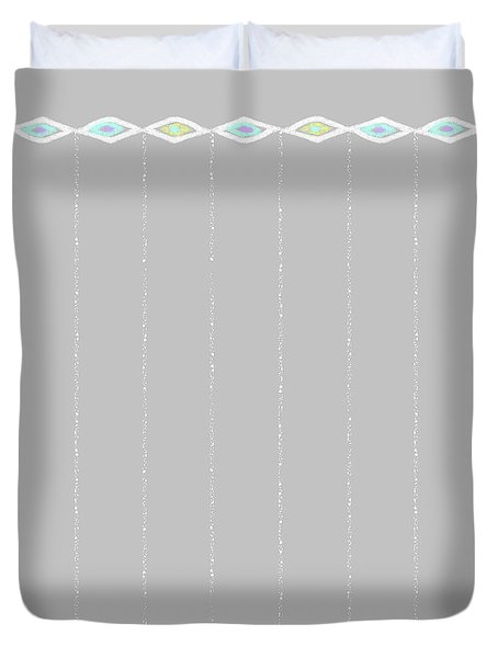 Diamond Eyes Row Gray Duvet Cover