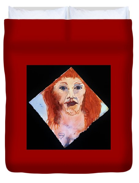 Duvet Cover featuring the painting Diamond Girl by Rand Swift