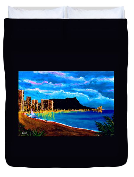 Diamond Head And Waikiki Beach By Night #92 Duvet Cover by Donald k Hall