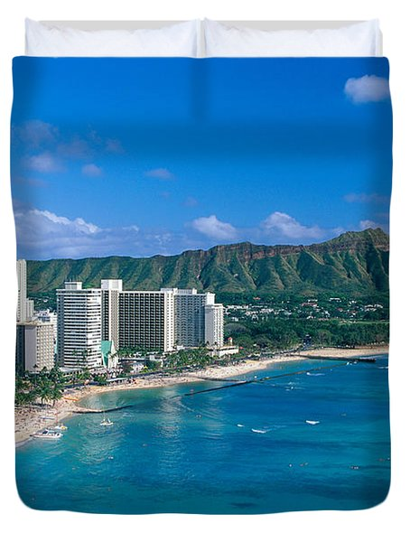 Diamond Head And Waikiki Duvet Cover