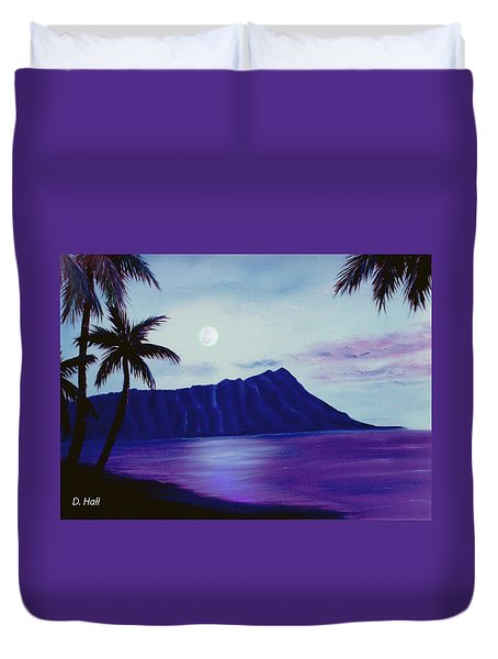 Diamond Head Moon Waikiki #34 Duvet Cover by Donald k Hall