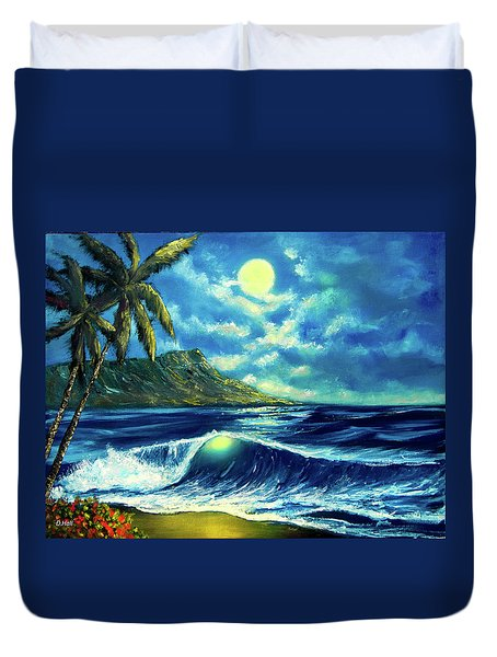 Diamond Head Moon Waikiki Beach #407 Duvet Cover by Donald k Hall