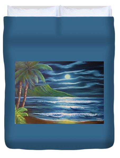 Diamond Head Moon Waikiki Beach  #409 Duvet Cover by Donald k Hall