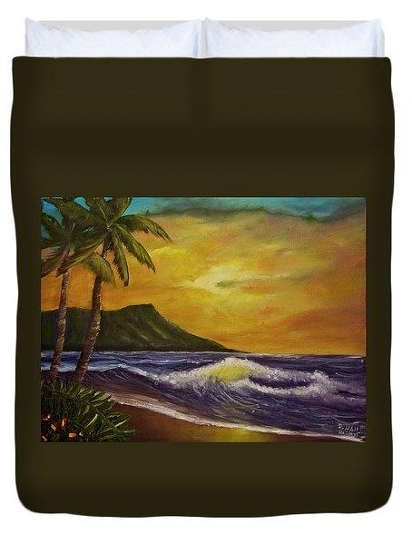 Diamond Head Sunrise Oahu #414 Duvet Cover by Donald k Hall