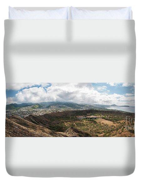 Diamond Head View Panoramic Duvet Cover