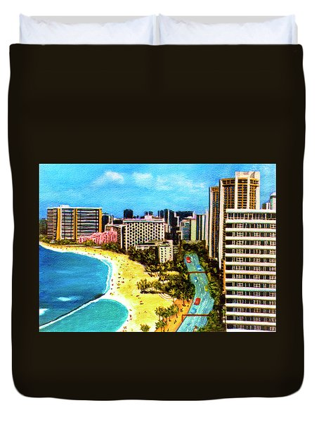 Diamond Head Waikiki Beach Kalakaua Avenue #94 Duvet Cover by Donald k Hall