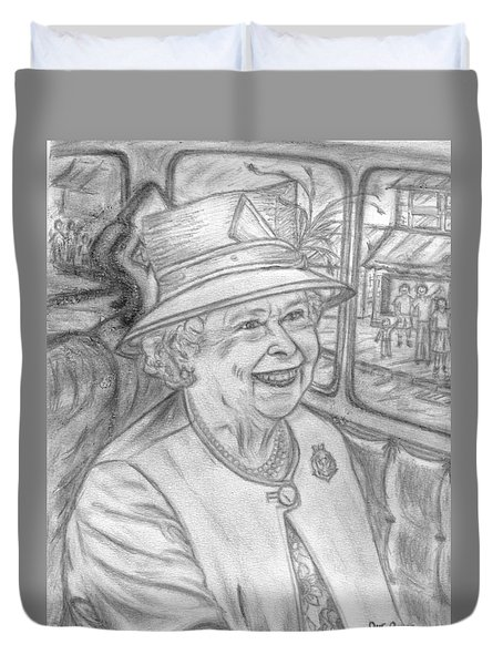 Duvet Cover featuring the drawing Diamond Jubilee by Teresa White