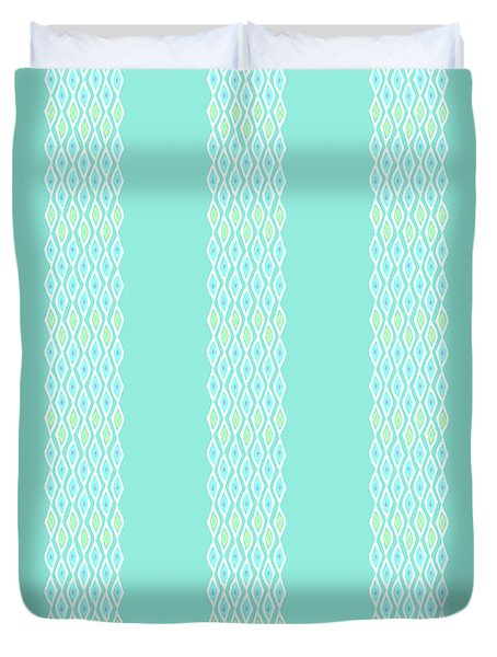Diamond Rain Teal Stripes Duvet Cover