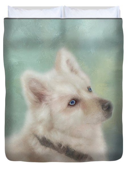 Duvet Cover featuring the mixed media Diamond, The White Shepherd by Colleen Taylor