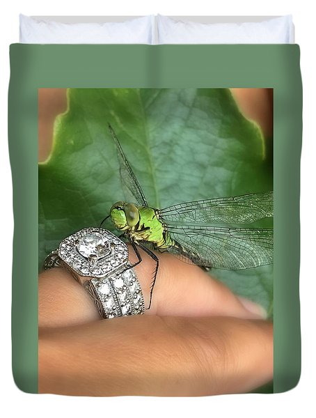 Diamonds Are A Dragonflies Best Friend Duvet Cover