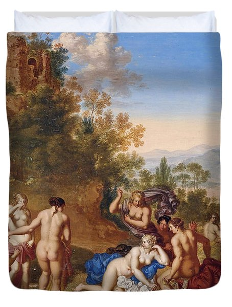 Diana And Her Nymphs Discovering Callisto's Pregnancy Duvet Cover