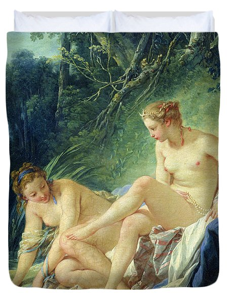 Diana Getting Out Of Her Bath Duvet Cover by Francois Boucher