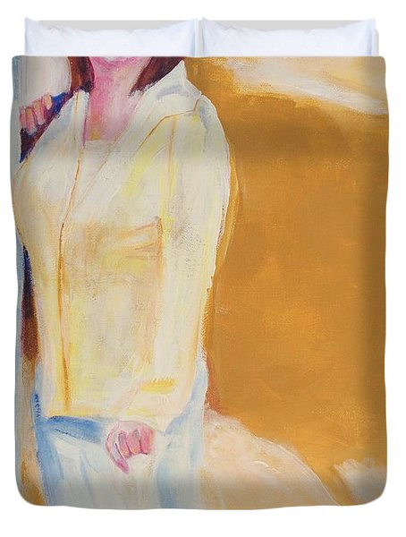 Duvet Cover featuring the painting Diane by Eric  Schiabor