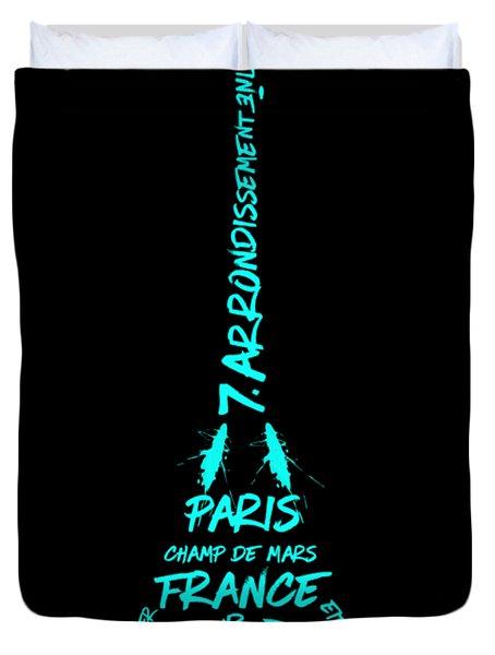 Digital-art Eiffel Tower Cyan Duvet Cover