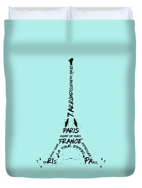 Digital-art Eiffel Tower Duvet Cover by Melanie Viola