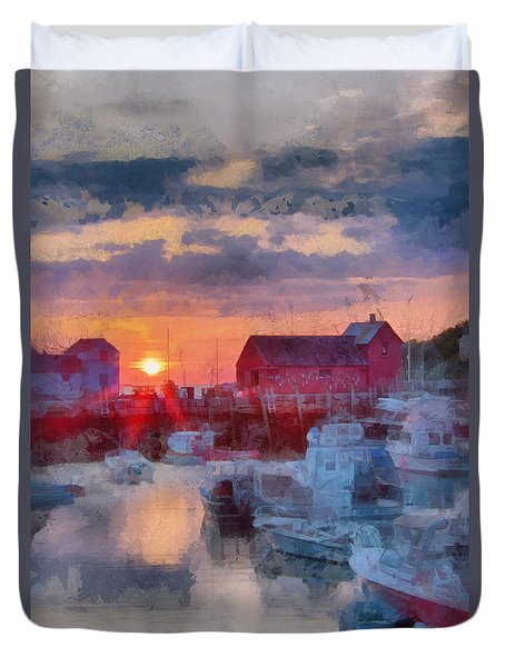 Duvet Cover featuring the photograph Digital Art Of Dawn Over Rockport by Jeff Folger