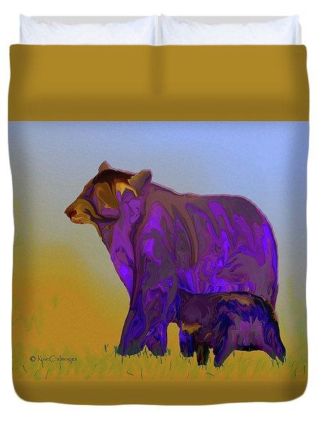 Digital Black Bear Sow And Cub Duvet Cover