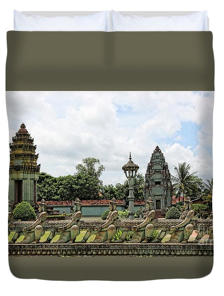 Digital Cambodia Architecture  Duvet Cover