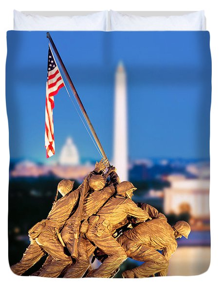 Digital Composite, Iwo Jima Memorial Duvet Cover