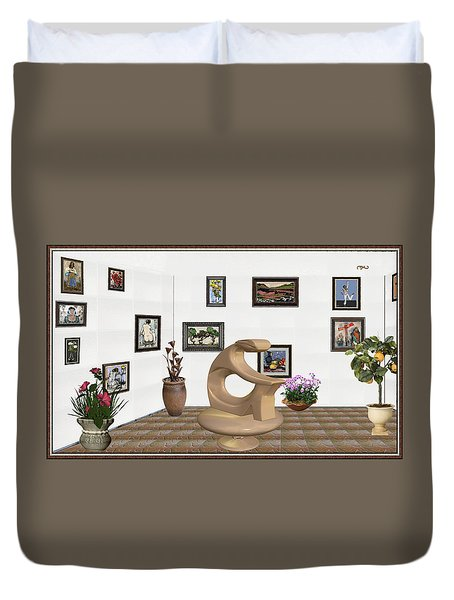 Duvet Cover featuring the mixed media digital exhibitartion _Statue of  girl by Pemaro