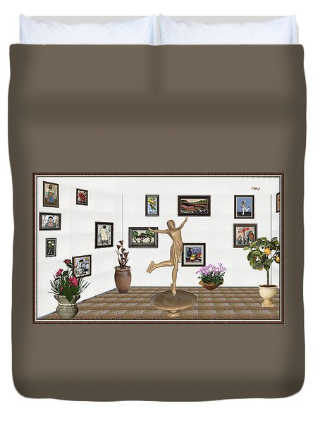 Duvet Cover featuring the mixed media digital exhibition _ A sculpture of a dancing girl 11 by Pemaro