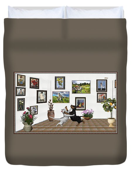 Duvet Cover featuring the mixed media Digital Exhibition _ Dancing Lovers by Pemaro