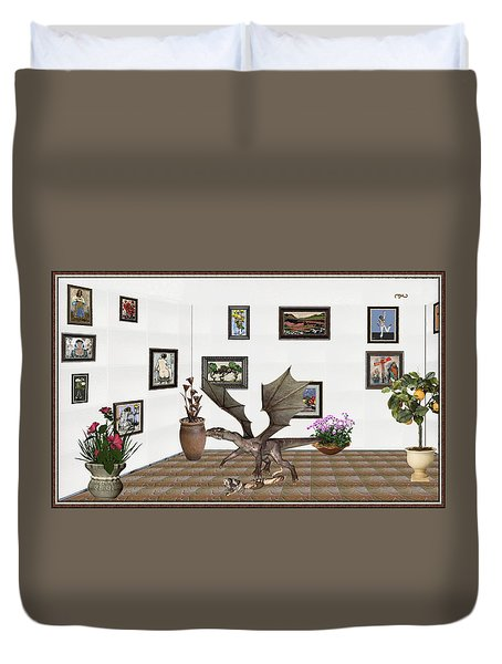 Duvet Cover featuring the mixed media digital exhibition _ Dragon and snake by Pemaro