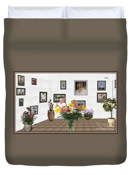 Digital Exhibition _ Flowers In A Vase Duvet Cover by Pemaro