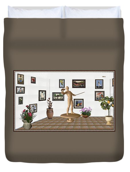 Duvet Cover featuring the mixed media Digital Exhibition _ Guard Of The Exhibition 3 by Pemaro