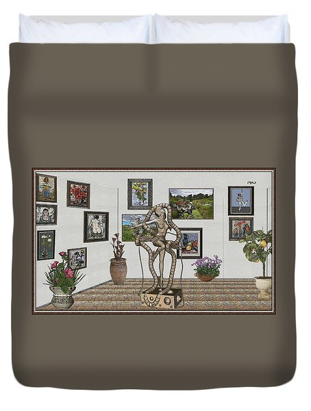 Digital Exhibition _ Modern  Statue 1   Of Dancing Girl Duvet Cover by Pemaro