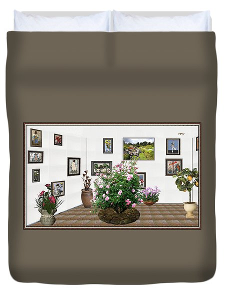 Duvet Cover featuring the mixed media Digital Exhibition _ Roses Blossom 22 by Pemaro