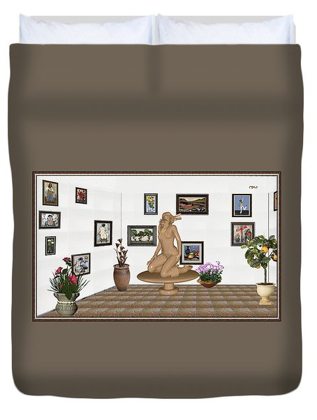 Duvet Cover featuring the mixed media digital exhibition _ Sculpture 9 of girl  by Pemaro
