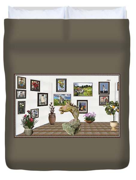 Duvet Cover featuring the mixed media Digital Exhibition _  Sculpture Of A Horse by Pemaro