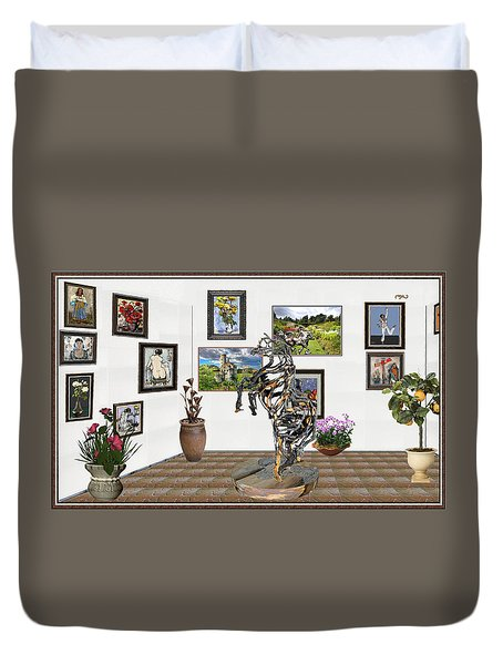 Duvet Cover featuring the mixed media Digital Exhibition _ Statue Of Branches by Pemaro