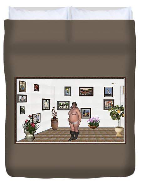 Duvet Cover featuring the mixed media Digital Exhibition  22 Of Posing Lady  by Pemaro