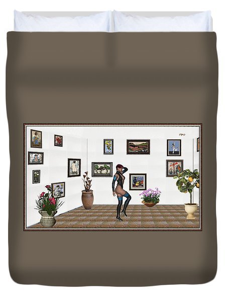 Duvet Cover featuring the mixed media digital exhibition 32  posing  Girl  by Pemaro