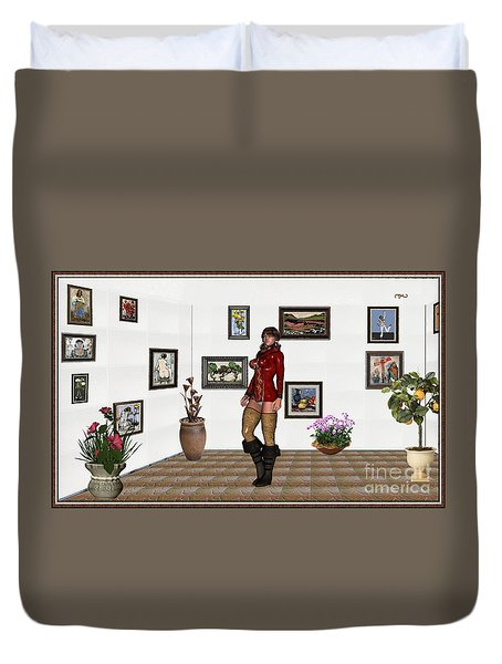 digital exhibition 32  posing  Girl 31  Duvet Cover by Pemaro