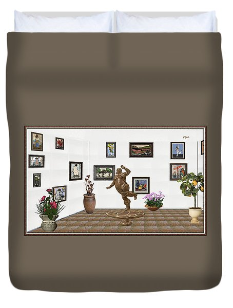 digital exhibition  Statue 24 of posing lady  Duvet Cover