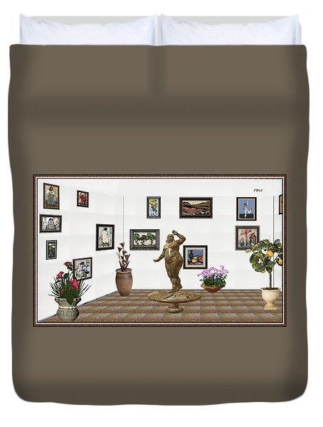 Duvet Cover featuring the mixed media digital exhibition  Statue 25 of posing lady  by Pemaro