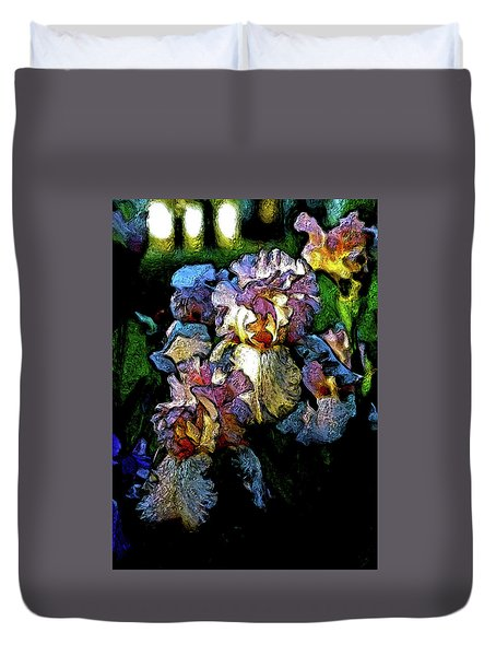 Digital Expressionist Painting Pale Pink Irises 6702 W_4 Duvet Cover