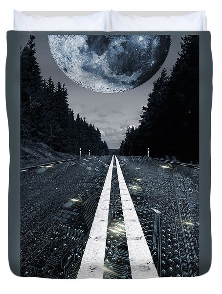 Digital Highway And A Full Moon Duvet Cover by Christian Lagereek
