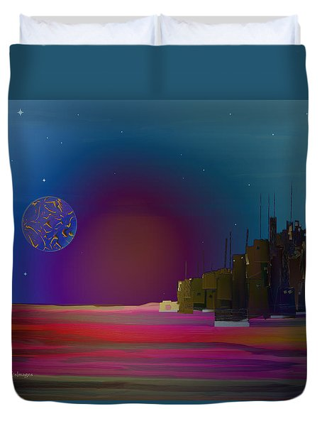 Digital City Landscape 4 Duvet Cover