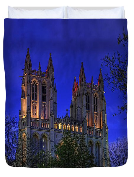 Digital Liquid - Washington National Cathedral After Sunset Duvet Cover