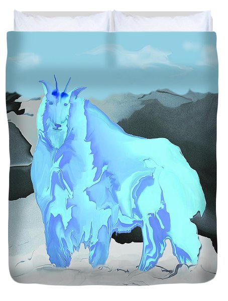 Digital Mountain Goat Duvet Cover