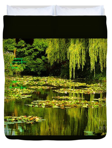 Duvet Cover featuring the photograph Digital Paining Of Monet's Water Garden  by MaryJane Armstrong
