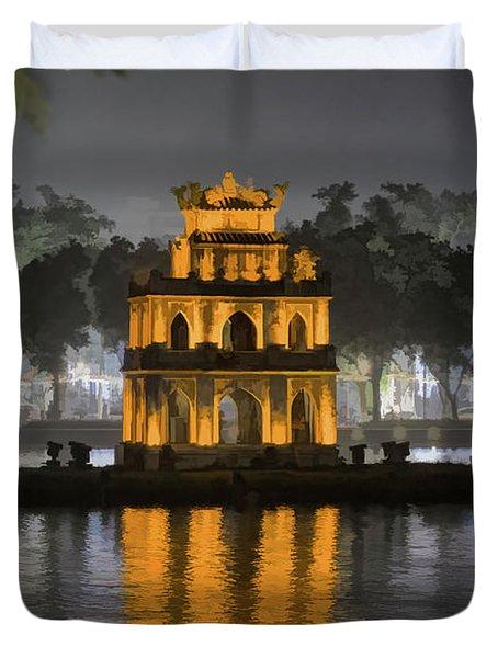 Digital Paint Mix Turtle Tower Hanoi Duvet Cover