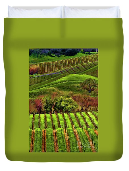 Enhanced Stunning Napa Valley Vineyards Vibrant  Duvet Cover