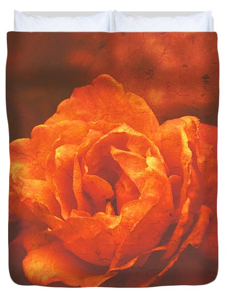 Duvet Cover featuring the digital art Fiery Colored Rose by Fine Art By Andrew David