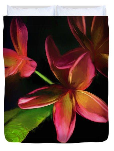 Digitized Sunset Plumerias #2 Duvet Cover